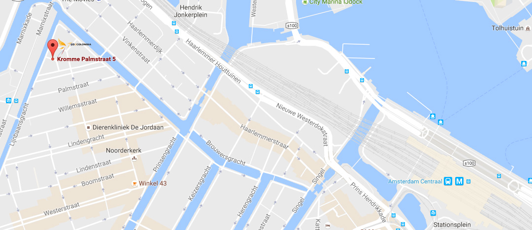 contact met Go2Colombia - vanaf Amsterdam CS heel gemakkelijk te bereiken!